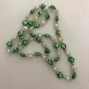 St Patrick's Day Beaded Necklace Hearts Parade